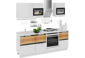 Кухонный гарнитур длиной - 210 см (со шкафом НБ) Фэнтези (Белый универс)/(Вуд)