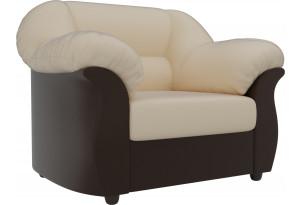 Кресло Карнелла бежевый/коричневый (Экокожа)