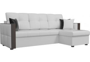 Угловой диван Валенсия Белый (Экокожа)