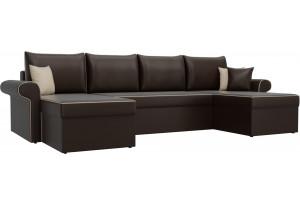 П-образный диван Милфорд Коричневый (Экокожа)