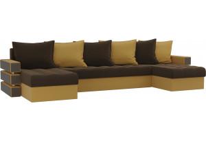 П-образный диван Венеция Коричневый/Желтый (Микровельвет)