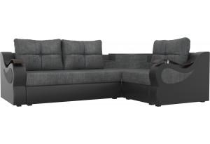 Угловой диван Митчелл Серый/черный (Рогожка/Экокожа)