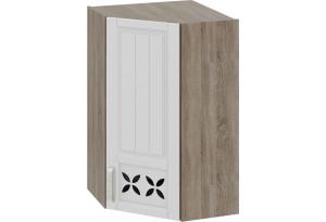 Шкаф навесной угловой c углом 45 с декором Дуб Сонома трюфель/Крем