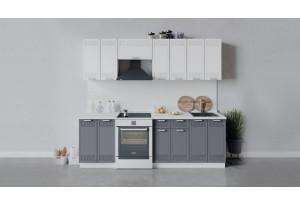 Кухонный гарнитур «Долорес» длиной 240 см (Белый/Сноу/Титан)