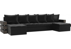 П-образный диван Венеция Черный (Экокожа)