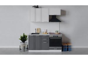Кухонный гарнитур «Ольга» длиной 160 см со шкафом НБ (Белый/Белый/Графит)