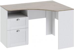 Угловой письменный стол с ящиками «Ривьера» Дуб Бонифацио/Белый