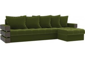 Угловой диван Венеция Зеленый (Микровельвет)