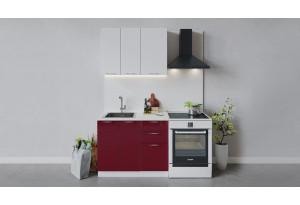 Кухонный гарнитур «Весна» длиной 100 см (Белый/Белый глянец/Бордо глянец)