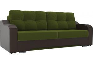Прямой диван Браун зеленый/коричневый (Микровельвет/Экокожа)