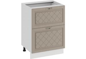 Шкаф напольный с двумя ящиками «Бьянка» (Белый/Дуб кофе)
