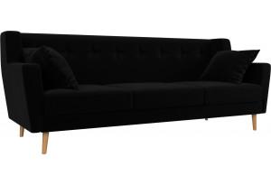 Прямой диван Брайтон 3 Черный (Микровельвет)