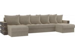 П-образный диван Венеция Бежевый (Микровельвет)