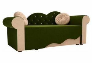 Детская кровать Тедди-2 Зеленый/Бежевый (Микровельвет)