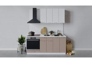 Кухонный гарнитур «Весна» длиной 180 см со шкафом НБ (Белый/Белый глянец/Кофе с молоком)