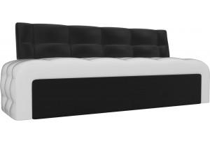 Кухонный прямой диван Люксор Белый/Черный (Экокожа)