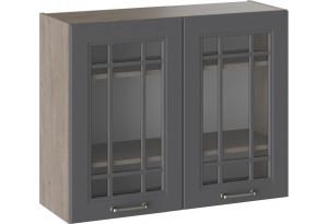 Шкаф навесной со стеклом ОДРИ (Серый шелк)