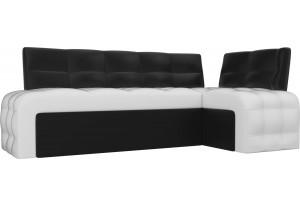 Кухонный угловой диван Люксор Белый/Черный (Экокожа)