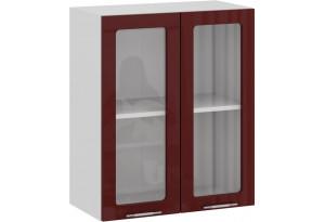 Шкаф навесной c двумя дверями со стеклом «Весна» (Белый/Бордо глянец)