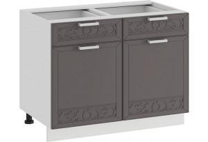 Шкаф напольный с двумя ящиками и двумя дверями «Долорес» (Белый/Муссон)