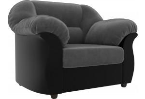 Кресло Карнелла Серый/черный (Велюр/Экокожа)