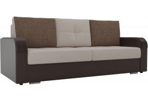 Прямой диван Мейсон бежевый/коричневый (Рогожка/Экокожа)