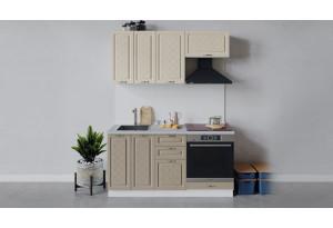 Кухонный гарнитур «Бьянка» длиной 160 см со шкафом НБ (Белый/Дуб ваниль/Дуб кофе)