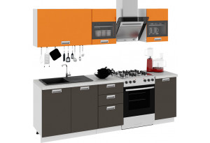 Кухонный гарнитур длиной - 240 см БЬЮТИ (Оранж)/(Грэй)