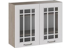 Шкаф навесной со стеклом (ОДРИ (Белый софт))