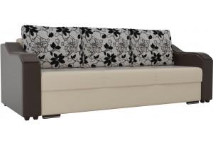 Прямой диван Монако бежевый/коричневый (Экокожа)
