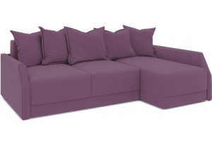 Диван угловой правый «Люксор Slim Т2» (Kolibri Violet (велюр) фиолетовый)