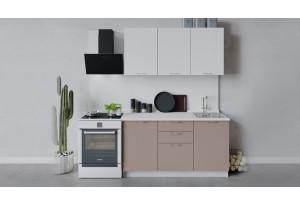 Кухонный гарнитур «Весна» длиной 150 см (Белый/Белый глянец/Кофе с молоком)