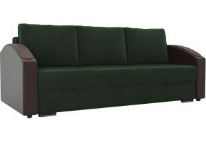 Прямой диван Монако slide зеленый/коричневый (Велюр/Экокожа)