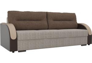Прямой диван Дарси бежевый/коричневый (Корфу/экокожа/рогожка)