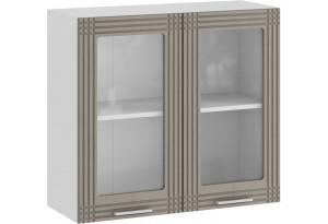 Шкаф навесной c двумя дверями со стеклом «Ольга» (Белый/Кремовый)