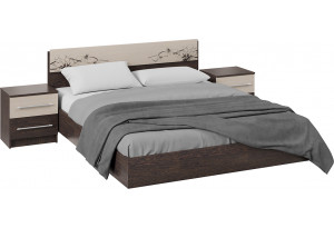 Спальный гарнитур «Мишель» стандартный без шкафа (Венге Цаво/Дуб Белфорт с рисунком)