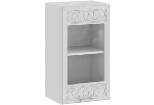 Шкаф навесной c одной дверью со стеклом «Долорес» (Белый/Сноу)