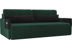Прямой диван Армада зеленый/черный (Велюр)