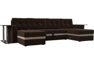 П-образный диван Атланта со столом Коричневый (Микровельвет)