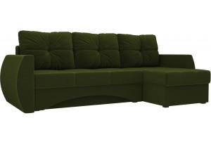 Угловой диван Сатурн Зеленый (Микровельвет)
