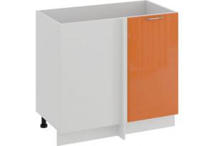 Шкаф напольный угловой «Весна» (Белый/Оранж глянец)