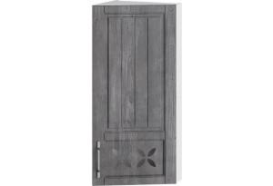 Шкаф навесной торцевой c декором (ПРОВАНС (Белый глянец/Санторини темный))