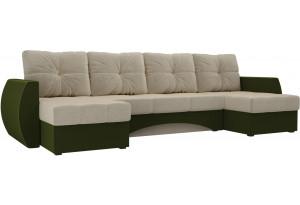 П-образный диван Сатурн бежевый/зеленый (Микровельвет)