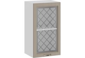 Шкаф навесной c одной дверью со стеклом «Бьянка» (Белый/Дуб кофе)