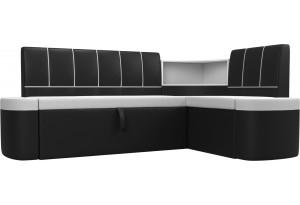 Кухонный угловой диван Тефида Белый/Черный (Экокожа)