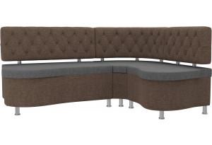 Кухонный угловой диван Вегас Серый/коричневый (Рогожка)