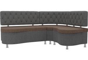 Кухонный угловой диван Вегас коричневый/Серый (Рогожка)