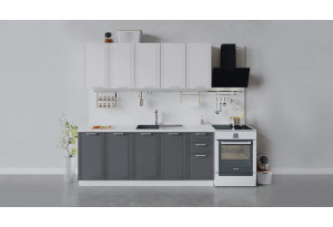 Кухонный гарнитур «Ольга» длиной 200 см (Белый/Белый/Графит)