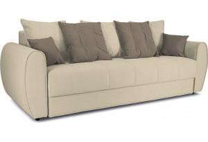 Диван «Бернард» Neo 02 (рогожка) бежевый, подушка Neo 04 (рогожка) светло-коричневый