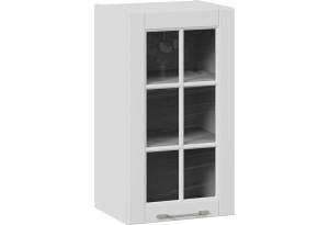 Шкаф навесной cо стеклом (СКАЙ (Белоснежный софт))